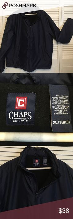 Chaps Navy Zip Up Jacket x hood in collar Size XL x wonderful condition x all zippers work x no rips or stains x clean lining inside and soft fleece x hood built into the collar x able to adjustable strap on bottom of Jacket Chaps Jackets & Coats
