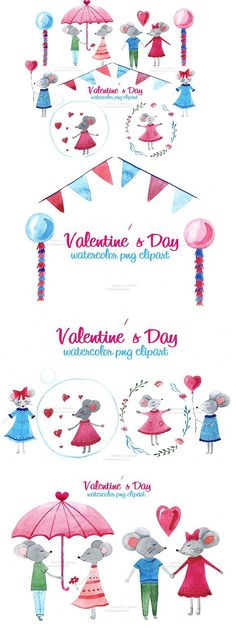 Valentine's day, Mouse. Wedding Card Templates
