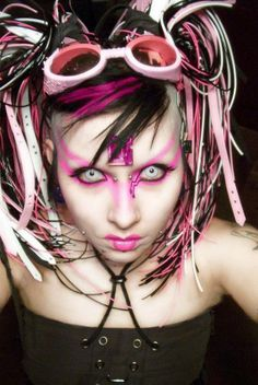 """Cyber-goth fashion is an offspring of Goth. It was created in the 21st century. It includes styles """"based on futuristic and scientific fiction and incorporate PVC materials and fetish-style clothing."""""""