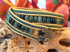 Free Shipping Double Wrap Bead and Leather Cuff by SunsetSouthPaw