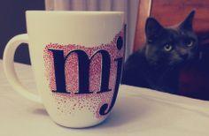 #DIY Sharpie Mugs, how-to (with bonus kitty photo bomb)
