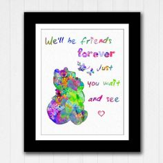 Winnie the Pooh Illustration Painting Watercolour Quote  Friends