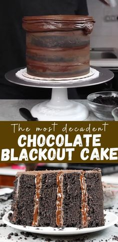 This chocolate blackout cake is irresistable! Its soft, incredibly moist cake layers are filled with chocolate pudding & chocolate ganache frosting! Chocolate Filling For Cake, Chocolate Pudding Cake, Decadent Chocolate Cake, Decadent Cakes, Best Chocolate Cake, Chocolate Recipes, Moist Chocolate Cakes, Chocolate Cake Fillings, Chocolate Birthday Cakes