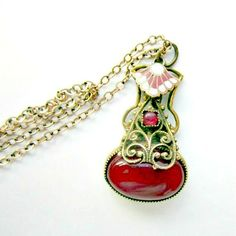 Vintage Necklace  Pendant Oxblood Blood Red by nanascottagehouse, $45.00
