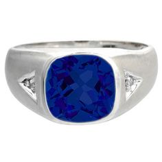 Diamond Antique Cushion Sapphire Gemstone Men's White Gold Ring Available Exclusively at Gemologica.com