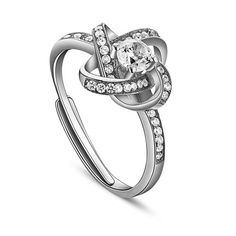 Glittering 925 Sterling Silver Finger Ring, with Micro Pave AAA Zircon Flower, Platinum; Size:about 18mm inner diameter(Adjustable), 11mm wide.<br/>Priced per 1