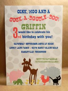 Barnyard Farm Birthday Invitation / Oink, Moo and Cock A Doodle Doo Custom Fun Printed Party Invite by Darby Cards