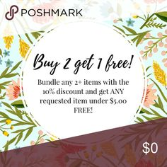 ⭐️⭐️⭐️⭐️BUY 2 get 1 FREE!! ⭐️⭐️⭐️⭐️ Buy two get one free . Choose any item less than  $5.00 from my closet to go along with your purchase! All offers considered Other