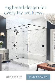 Build wellness into your shower by adding a MrSteam steam bath when you renovate. Contact your local steam shower expert for more details. White Master Bathroom, Master Shower, Guest Bathrooms, Bathroom Renos, Dream Bathrooms, Steam Bath, Steam Showers, Modern Shower, Modern Bathroom