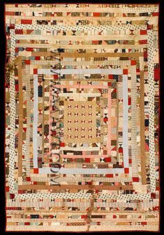 Crib Quilt, circa 1860-70. Bowtie pattern center surrounded by border after border, many on a postage stamp scale.