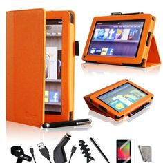 iMcase ® (Orange) Folio Bold Standby Case Cover for Amazon Kindle Fire + Stylus/Car Charger/Micro USB Cable/ Fishbone Cord Wrap/Bonus Velcro Cable Tie/Screen Film/Clearn Cloth by iMcase. $14.99. iMcase LLC is fully committed to the brand and the only authorized distributor of this product. Please read on if you feel that the case does not stand up correctly. The PU Leather material needs some time to break in. Once it breaks in, the platform that touches the table w...