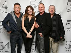 Bruce Springsteen, Sting and Robert De Niro pose with Rita Wilson backstage after her performance at 54 Below in New York City.