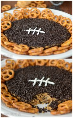The original Peanut Butter Football Dip – a football shaped sweet dip filled with peanut butter and chocolate!Peanut Butter Football Dip is the ultimate super bowl recipe! Yummy Treats, Delicious Desserts, Sweet Treats, Yummy Food, Fun Food, Food Art, Dip Recipes, Snack Recipes, Dessert Recipes