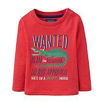 Buy Baby Joule Crocodile Long Sleeve T-Shirt, Red Online at johnlewis.com