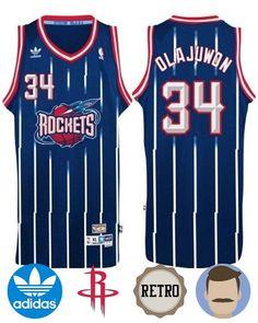 cbad64ab465 Wear this stylish Men s Adidas Houston Rockets  34 Hakeem Olajuwon Navy  Hardwood Classics Swingman Throwback