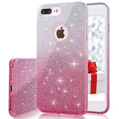 """iPhone 7 plus Case Milprox Bling Luxury Glitter Pretty Cute Premium 3 Layer Hybrid Anti-Slick / Protective / Soft Slim Thin TPU unique Case for girls / women 5.5"""" iPhone 7 plus - Pink Silver"""