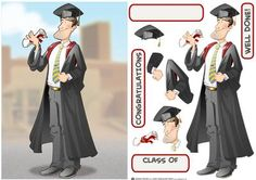Graduation Dude on Craftsuprint designed by Gordon Fraser - Congratulations all round for this graduate as he's passed his final exams! Easy to make with decoupage, blank and sentiment tiles. More versions of this Dude are available. Don't forget to check out my other original designs and Dudes, just click on my name. Thanks for looking! - Now available for download!