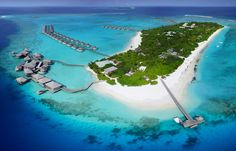 Six Senses Laamu aerial. Six Senses Laamu, Maldives.