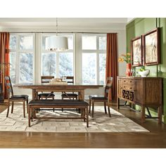 The Santa Clara dinette table is made from solid mango and select hardwoods and features a rich brandy finish.