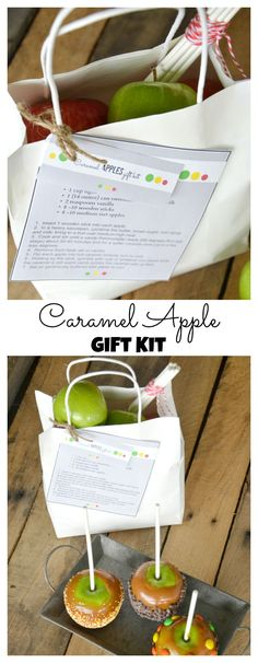 Caramel Apples Gift Fall Printables - The Idea Room Diy Food Gifts, Homemade Gifts, Apple Gifts, Dried Apples, Cooking With Kids, Apple Recipes, Corn Syrup, Halloween Treats, Caramel Apples