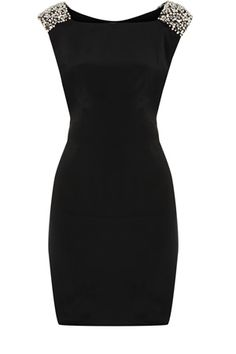 Oasis Formal | Black Embellished Shoulder Shift Dress | Womens Fashion Clothing | Oasis Stores UK ($100-200) - Svpply