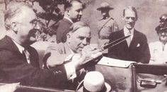 President Franklin D.Roosevelt and Prime Minister Mackenzie King cut the ribbon at the dedication of the Thousand Island Bridge on August 18, 1938. Approximately 25,000 people were at the border for the ceremony, while thousands more lined the motorcade route as it proceeded to the ceremonial sites. Thousand Islands, Gilded Age, Presidents, Fiction, Castle, Singer, Roosevelt, Prime Minister, People