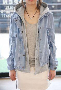 Detachable Hooded Casual Jacket Denim