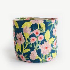 Image of Teal Floral Vase Ceramic Clay, Ceramic Painting, Ceramic Pottery, Pottery Painting Designs, Porcelain Jewelry, Fine Porcelain, Porcelain Tiles, Painted Pots, Hand Painted