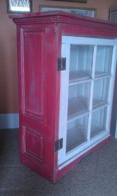 Upcycle door display cabinet