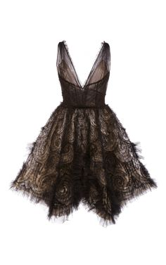 Hand Draped Tulle Cocktail Dress by MARCHESA for Preorder on Moda Operandi