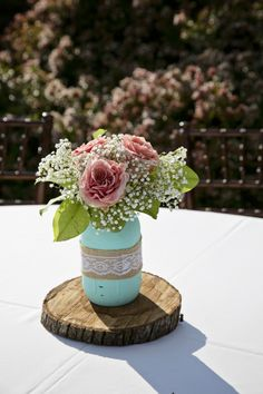 Mason Jar Wedding Reception Centerpiece -- Roses and Baby's Breath -- Mint and Coral wedding