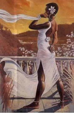 Black Art of Woman Dressed in White Observing the View CodeBlack Art