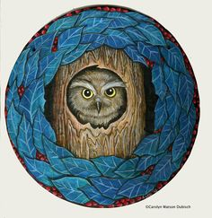 """""""The owl"""" 11"""" diameter mandala, painted in acrylic on paper board"""