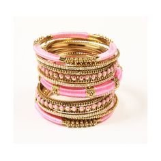 Rupal Spring Bangle Set, set 15 bracciali by Amrita Singh - New York Bangle Set, Bracelet Set, Bangle Bracelets, Gold Bangles, Pink Bracelets, Thread Bangles, Necklaces, Jewelry Box, Jewelery