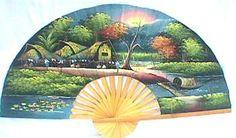 Village Sunset Wall Fan  Price: $19.99 Large Fan, Wall Fans, Asian Decor, Asian Art, Oriental, Decorations, Sunset, Painting, Dekoration