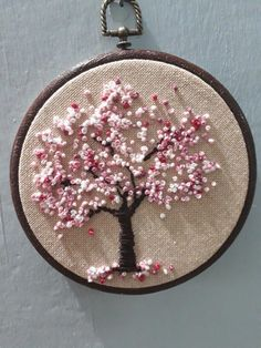 Pin by Simple Embroidery by Lorna on Silk Ribbon Embroidery Designs Embroidery hoop Cherry Blossoms, hand embroidered hand made one of a kind pink b.Hoop art Indian Jewellery machine embroidery linen with - Salvabranihow to make french knots embroideryhan French Knot Embroidery, Hand Embroidery Videos, Embroidery Stitches Tutorial, Embroidery Flowers Pattern, Hand Embroidery Stitches, Silk Ribbon Embroidery, Embroidery Hoop Art, Hand Embroidery Designs, Vintage Embroidery