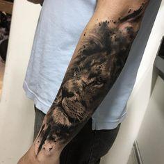Biker Tattoos, Boy Tattoos, Head Tattoos, Animal Tattoos, Body Art Tattoos, Tattoos For Guys, Lion Forearm Tattoos, Forarm Tattoos, I Tattoo