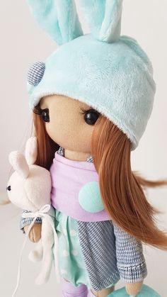 Bunny Textile DOLL WITH CLOTHING, Interior Decor Doll, Tilda Rag Doll, Special Girl Gift christmas doll toys birthday home decor Handmade Clothes, Handmade Items, Special Girl, Fabric Dolls, Girl Gifts, Doll Toys, Soft Fabrics, Kids Toys, Interior Decorating