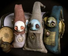 Finders Keepers - mixed media primitive monster art doll blue with brown eyes.