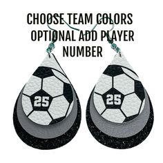 Bring joy to your ears with these customized team color faux leather earrings. These fun earrings are the perfect accessory to add to your game day outfit. Features: -Faux leather faced with soccer ball and jersey number (optional). -Customized team colors. -Triple Layered. Lightweight yet durable. -Earrings are cut at 2 inches. -Earrings are approximately 2.5 inches in length with hook. -All earring hardware is nickel free. By default, earrings will be made with solid faux leather in the center Team Mom, Sports Mom, Custom Earrings, Blue Glitter, Leather Earrings, Soccer Ball, Gifts For Mom, Ears, Hardware