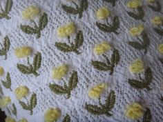 Fieldcrest Yellow Rosebuds  Vintage Cotton Chenille Fabric 18 x 24 Inches