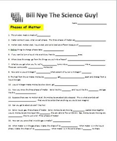 Printables Bill Nye Matter Worksheet a well it is and student on pinterest bill nye phases of matter video worksheet