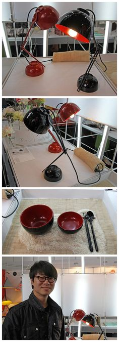Tableware Lamp, made of two bowls, one spoon and a pair of chopsticks. Designed by Sodongho Design Studio.