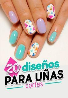 Diseños para uñas cortas. Nail. Nails art. Nails desings. short nails.