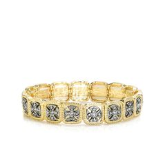 """Mixed metal stretch bracelet combines silver Maltese cross within textured gold square links. Spiff up a workout fit with Valentina or pair it with several other stretch bracelets like Sabrina bracelet with a similar look. - Gold and silver - 3/8"""" wide - Adjustable stretch fit Item # BLU40001016"""