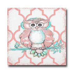 Marmont Hill Coral Owl by Reesa Qualia Painting Print on Wrapped Canvas, Size: 48 inch x 48 inch, Multicolor Owl Wall Art, Owl Art, Art Wall Kids, Wall Art Decor, Wood Art Panels, Panel Art, Coral Nursery, Nursery Art, Owl Bedrooms