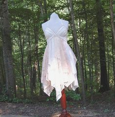Everything in her shop is beautiful I just wish I could afford it, lol.   Fairy Woodland Gypsy Dress, Halter Dress, Wedding Sundress, Lace, Shabby, Tattered, Boho, Hippie, Eco Earth Friendly, Upcycled Clothing on Etsy, $130.00