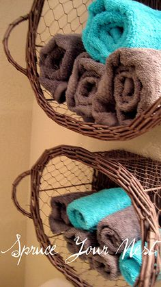 Basket Shelfs, Good Idea been looking for towel storage for my bathroom I really like this idea because its off the floor Brown Bathroom Decor, Bathroom Colors, Bathroom Ideas, Downstairs Bathroom, Bathroom Wall, Blue Brown Bathroom, Turquoise Bathroom Decor, Relaxing Bathroom, Simple Bathroom