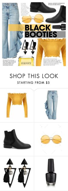 """""""Black And Yellow"""" by tasnime-ben ❤ liked on Polyvore featuring Citizens of Humanity, Versace and Tiffany & Co."""