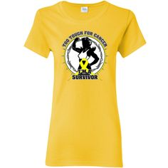 Ewing Sarcoma Too Tough For Cancer...I'm a Survivor slogan on Women's T-Shirt featuring a female silhouette posing with strength and an awareness ribbon for activism